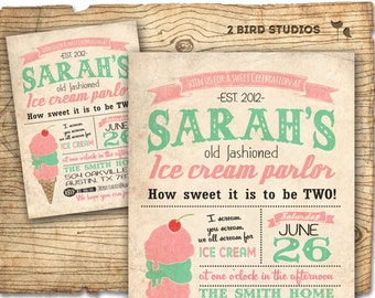 Ice cream invitation- ice cream party - ice cream parlor invite - summer vintage ice cream truck DIY printable invitation