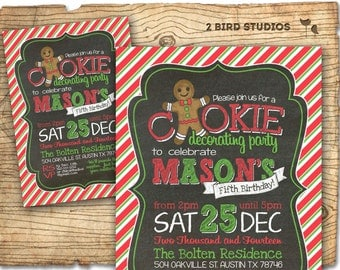 Cookie decorating party invitation - Milk and cookies birthday invitation - Christmas cookie decorating invitation - birthday invitation