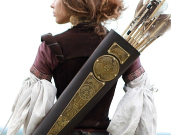 """Archery Quiver Leather Bowman """"Archeress"""" series etched brass"""