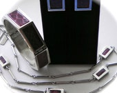 Signed ANNE KLEIN for ACCESSOCRAFT  Bracelet, Necklace & Earrings  Snakeskin and Silver tone Rare Complete Set