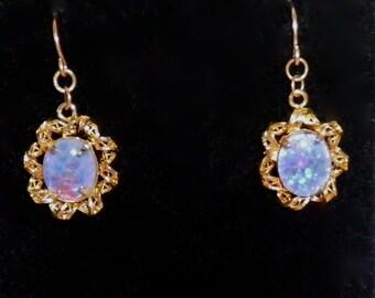 Vintage Drop Earrings Luminous Opalescent Cabochons   c1960