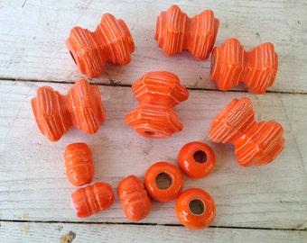 Vintage Orange Macrame Beads