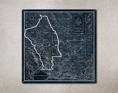 "Vintage Napa County METAL Map 18x18""  FREE SHIPPING"