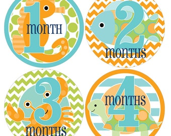 Set of 12 Round Monthly Milestones Stickers Blue Under The Sea Photo Props Keepsakes - MOSB078