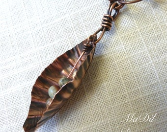 Copper Necklace Fold Formed Pod Hand Forged Hand Made Chain Links and Hand Made Hook Clasp African Opal Jasper Beads Earthy Patina Pendant