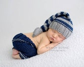 Newborn baby girl or boy hand knitted pants and Elf hat with knot set for Photography Props