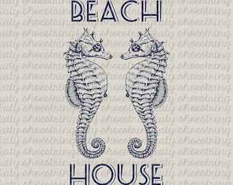 Beach House Seahorse Printable Image Indigo Blue Coastal Nautical Ocean Fabric Transfer Clip Art Collage Sheet Pillows Totes Towels Signs