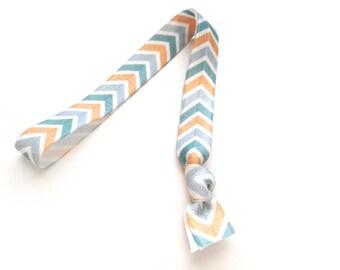 1 Seaside Chevron Print Handmade Elastic Headband
