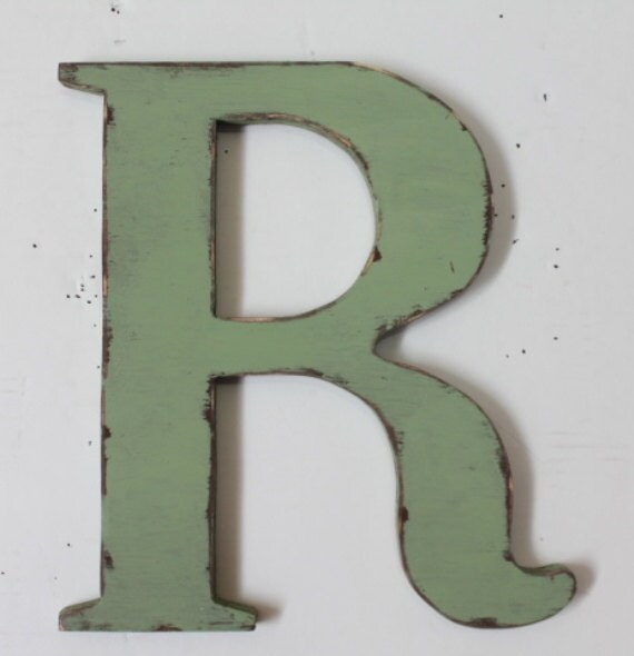 """Wooden letter """"R"""", wall hung, 12 inches tall, home decor, wood letters, distressed, alphabet letters, painted Garden Green"""