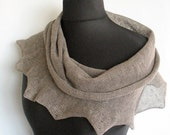 Linen Scarf Natural Gray Infinity Scarf Cowl Wrap