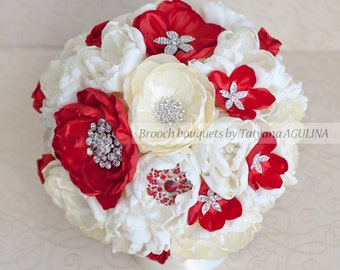 Brooch bouquet. Ivory and Red wedding brooch bouquet, Jeweled Bouquet. Made upon request