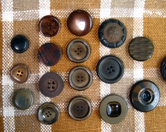 Dark Brown Tone Plastic Buttons, set of 18