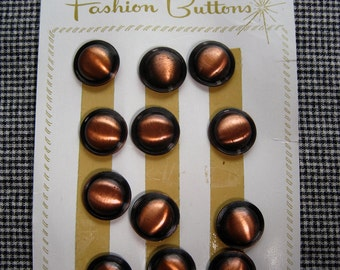 Copper Colored Plastic Carded Buttons. s/12