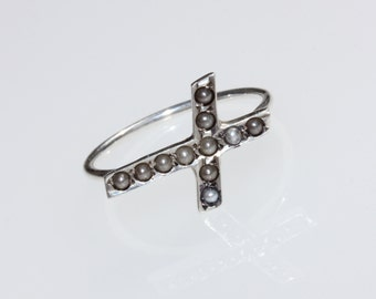 Vintage/Antique Victorian sterling silver and seed pearl cross ring, religious jewelry, Christian ring
