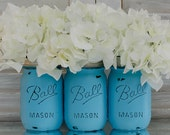 Turquoise Painted, Distressed Mason Jars * Tiffany Blue Mason Jar Set - dropclothdesignco