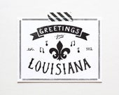 Screenprinted State of Louisiana Postcard