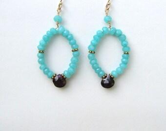 Chalcedony Dangle Earrings in Gold Filled, Garnet Drop Earrings