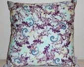 SALE LAST TWO Velvet pillow purple aqua Patricia Bravo Bellydancer Sky fabric Square pillow Throw pillow Velvet purple aquamarine pillow
