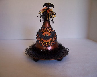 Vintage Style HALLOWEEN Candy/Gift Container- WITCH HAT with Bat