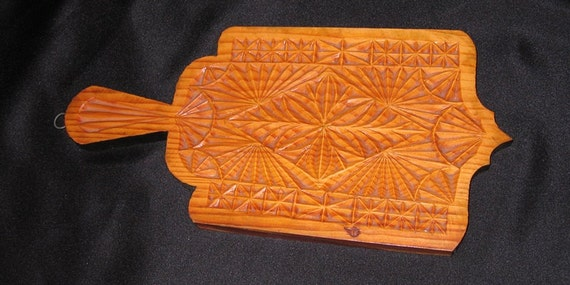 Scandinavian vintage hand chip carved wooden cutting board