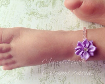 Purple flower baby and toddler anklet, baby photo prop, baby girl gift