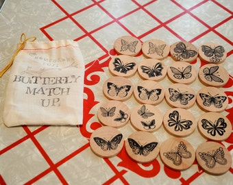 Waldorf- Match Up- BUTTERFLY- Wooden Memory Game