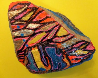 Hand Painted Abstract Rock/Paper weight Stone