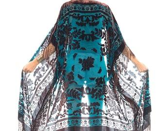 Sheer Silk Burnout Velvet Fringe Hippie Boho Gypsy Teal Brown Kimono Jacket