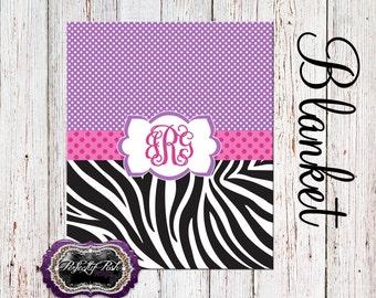 Personalized Zebra Blanket