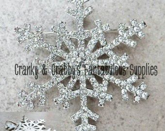 Rhinestone Snowflake Pendant -  60mm x 60mm  - Silver & Crystal or Gold