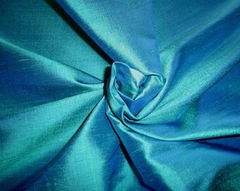 "60s 44"" x 4.7 yds India Silk Sharkskin Dupioni Shantung Electric Turquoise Teal Blue Fabric"