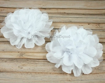 """Clearance 2 White Chiffon and Tulle Flower - 4.5"""" - Crinkle Flowers"""