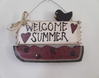 Welcome summer watermelon sign