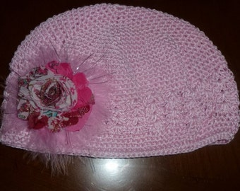 Girls Chemo Hat with FLower and Maribou Puff, Girls Pink Hand Decorated Chemo Hat with Shabby Chic type Print Flower
