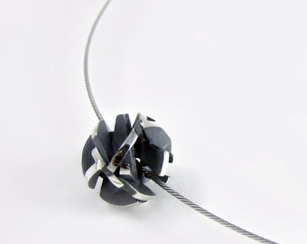 Oxidized silver necklace, 3D printed jewelry, geometric ball pendant on stainless steel cable, statement jewelry