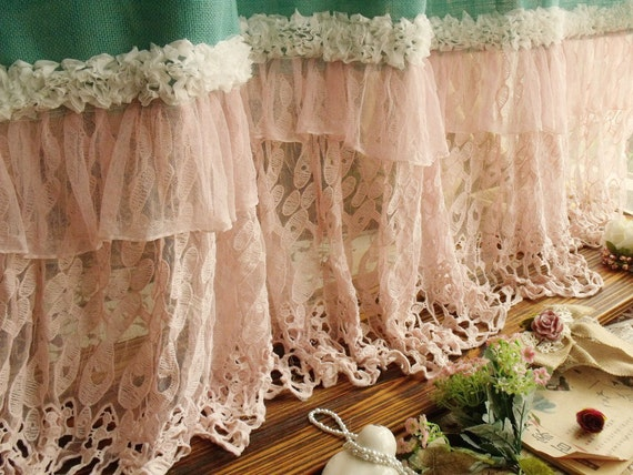Chic blue burlap shower curtain pink lace ruffles beach turquoise