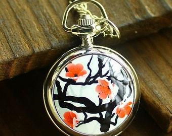 1pcs  peach blossom Flower  pocket watch charms pendant    25mmx25mm