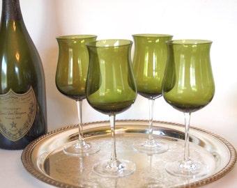 Vintage Wine Glasses Crystal Green Blown Glass Wine Stems Glassware Stemware - Set of 4 - Circa 1960's Mid Century Modern MCM Wedding Gift