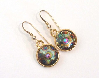 Peaock Swarovski Crystal Earrings on Gold Plated Ear Wires Rivoli Crystals Unique