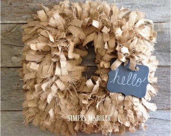 Square Burlap Rag Wreath w/chalkboard message board,Burlap Wreath,Fall Wreath,ShabbyChicWreath,RusticWreath,Square Wreath,Year Round Wreath