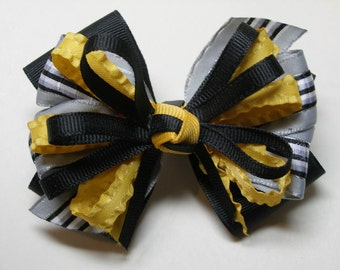 Black Yellow Gold Grey Hair Bow Back to School Cheer UNIFORM Boutique Toddler Girl Team Spirit Wear