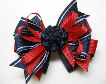 4 inch Navy Blue Red Hair Bow Toddler Girl Uniform Accessory Grosgrain Handmade Layered