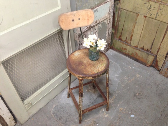 Industrial Factory Stool, Vintage Metal Chair