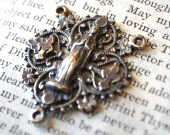"""Fleur Rosary Center 1"""" - Sterling Silver - Vintage Replica - Made in the USA"""