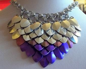 Aluminium Scale Maille Bib Necklace