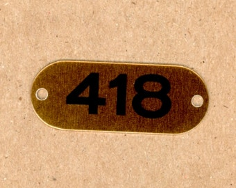 Number 418 - 1 Aluminum Metal Number Tags School Locker Plates for Altered Art in Brass