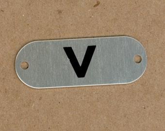 Letter V, Silver & Black Aluminum Metal Letter Tag, School Locker Plate for Altered Art, Mixed Media, Art Journals