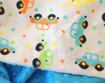 Minky Baby Blanket, Car Blanket , Cars Boy Blanket, Crib  Bedding, Car Bedding, Baby Boy Minky Blanket, Baby Girl Minky Blanket, 36 x 45