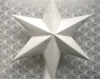 Paper Star Tree Topper. In Glittering White