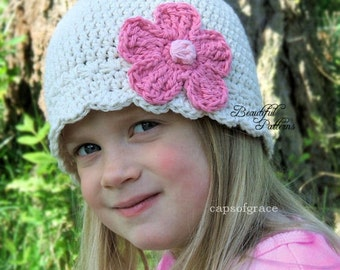 Crochet Hat Pattern Daisy Flower Flapper Beanie PDF 120 Newborn to Adult  Photography Prop Instant Download